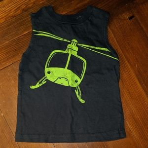 Jumping Beans tank top, neon green helicopter 2T